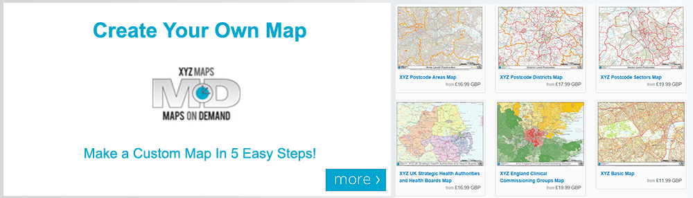 Maps on Demand - Create Your Own Map | Postcode Maps | OS Maps | World Maps