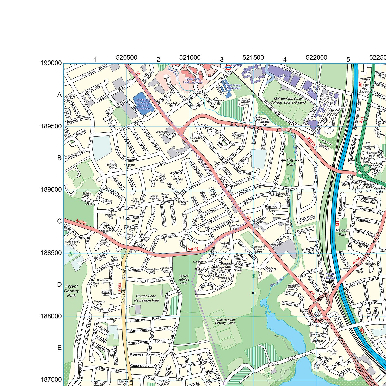 Map Of North London.London Xyz Citymap London North West Wall Map