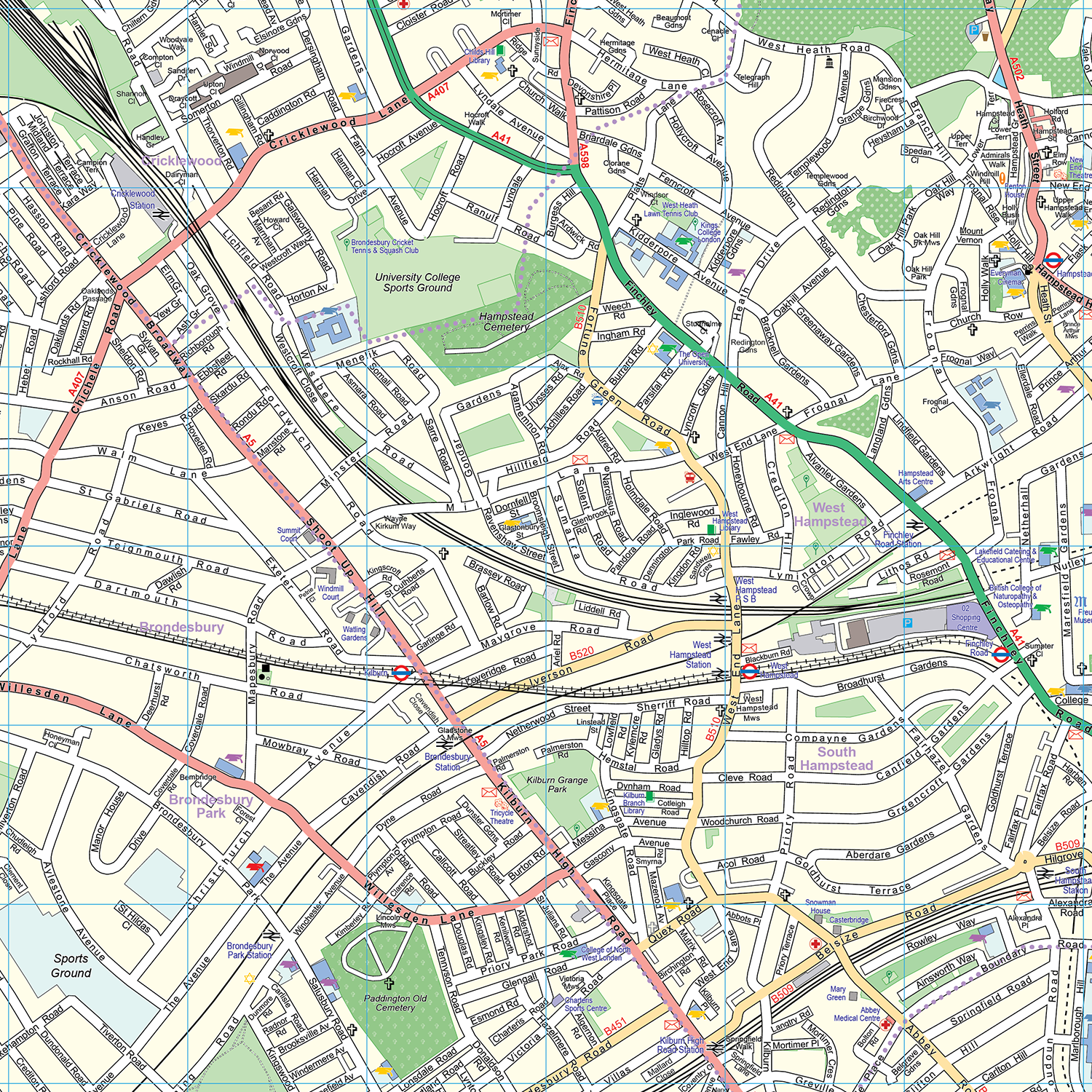 Map North West London.London Xyz Citymap London North West Wall Map