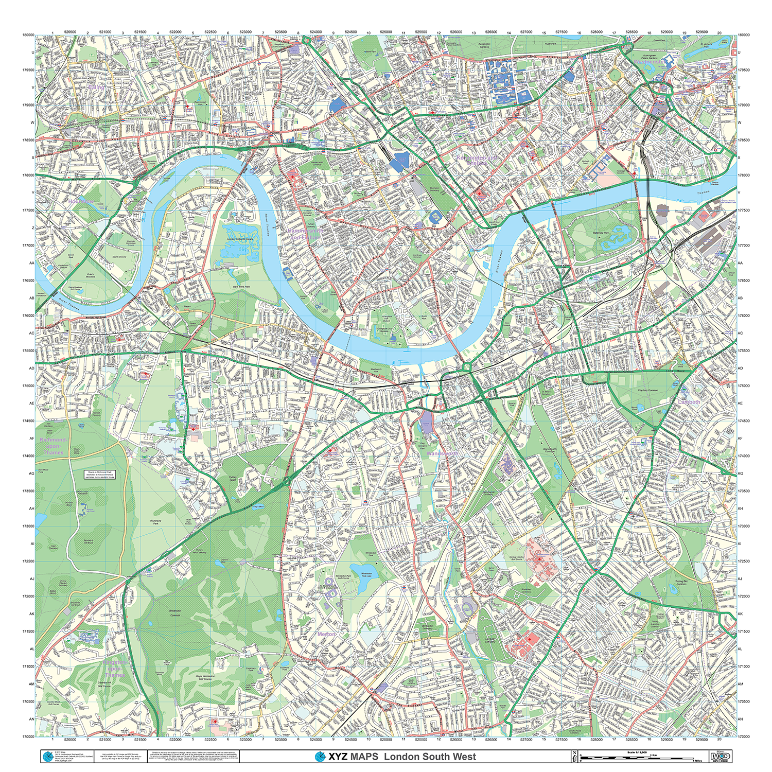 london xyz citymap london south west detail 1