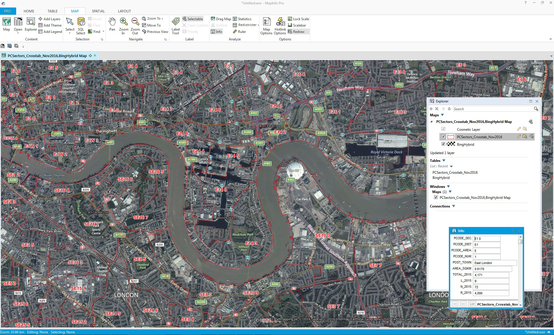 MapInfo Pro with Bing Image Map and XYZ Postcode Sectors