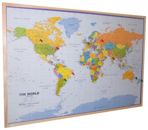 World Pine Effect Framed Pinboard Map