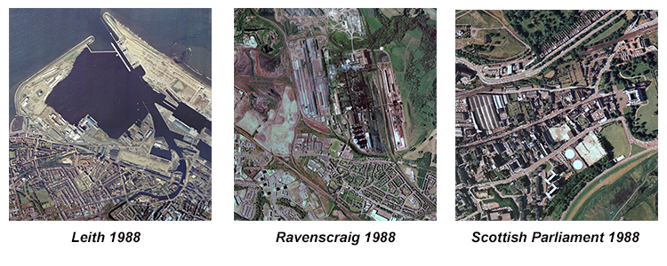 Views of Ravenscraig, Leith and the Scottish Parliament site in 1988